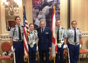 Palmetto Ridge High School JROTC Color Guard with Maj. Gen. Bernard