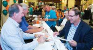 CHARLIE BABB AND LARRY BALL SIGNED AUTOGRAPHS FOR DOZENS OF FANS AT THE CELEBRITY BARTENDER EVENT AT HILTON NAPLES, TO BENEFIT UNITED WAY OF COLLIER COUNTY.