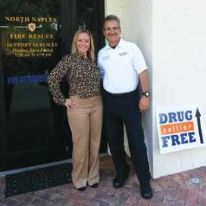Deputy Chief Jorge Aguilera welcomes Drug Free Collier to their Prevention Office. Aguilera is shown here with Melanie Black, Executive Director of Drug Free Collier
